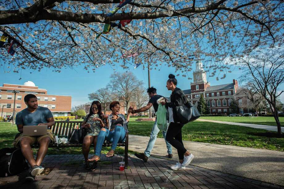 Howard University students socialize between classes. Howard is among the historically black colleges founded by white Americans. Photo: Andre Chung For The Washington Post   / The Washington Post