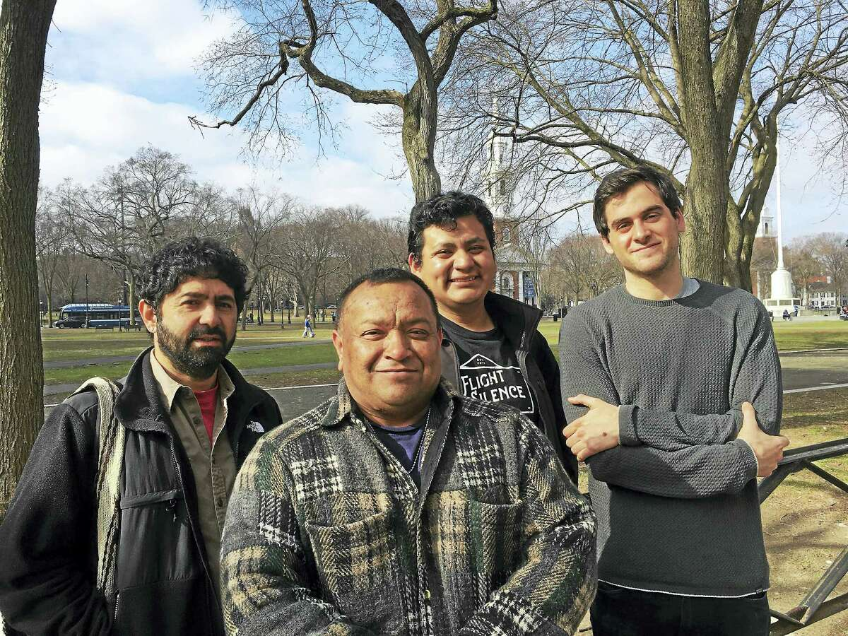 From left, John Lugo and Edgar Sandoval of Unidad Latina en Acción, Jesus Morales Sanchez of the Connecticut Immigrant Rights Alliance and Brett Davidson, director of the Immigrant Bail Fund, are helping bail out immigrants held while awaiting deportation hearings.