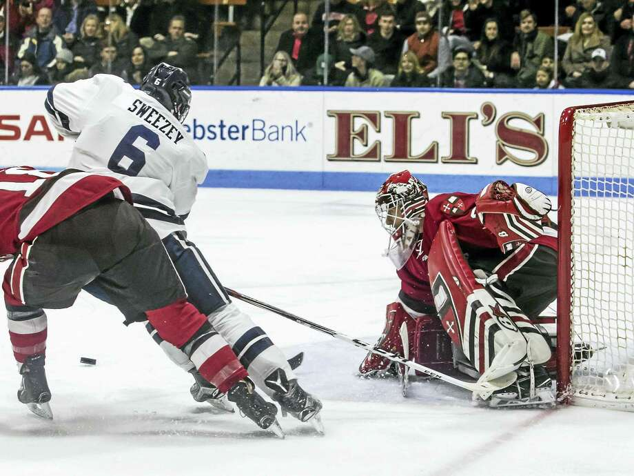 Yale's Billy Sweezey tries to score during a game earlier this season. Photo: Photo Courtesy Of Yale Athletics   / ©2017 Steve Musco. All rights reserved.