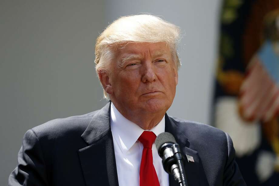In this photo taken July 26, 2017, President Donald Trump pauses while speaking in the Rose Garden of the White House in Washington.  (AP Photo/Alex Brandon) Photo: Alex Brandon, Associated Press