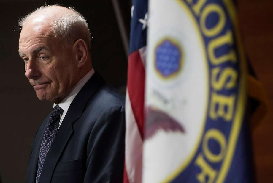 (FILES) This file photo taken on June 29, 2017 shows  US Secretary of Homeland Security John Kelly speaking about immigration enforcement legislation during a press conference on Capitol Hill in Washington, DC, June 29, 2017. US President Donald Trump on July 28, 2017 ousted his beleaguered chief of staff Reince Priebus, replacing him with retired Marine Corps general and current Homeland Security Secretary John Kelly. / AFP PHOTO / SAUL LOEBSAUL LOEB/AFP/Getty Images Photo: SAUL LOEB, AFP/Getty Images