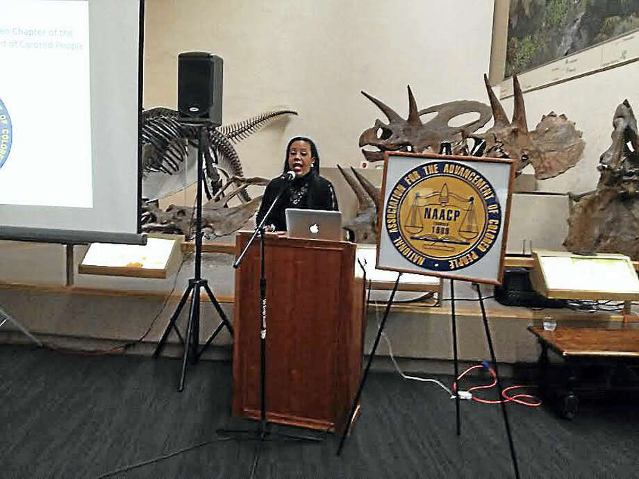 Dori Dumas, president of the NAACP Greater New Haven Branch, greets attendees at a reception celebrating the branch's 100th anniversary. Photo: Brian Zahn — New Haven Register