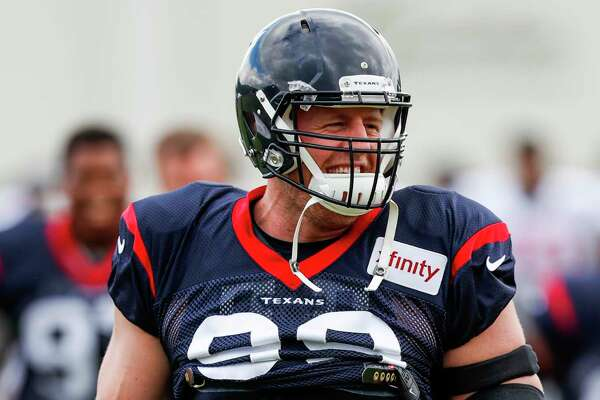 Houston Texans defensive end J.J. Watt (99) yells at the end of a drill during training camp at the Greenbrier on Saturday, July 29, 2017, in White Sulphur Springs, W.Va.