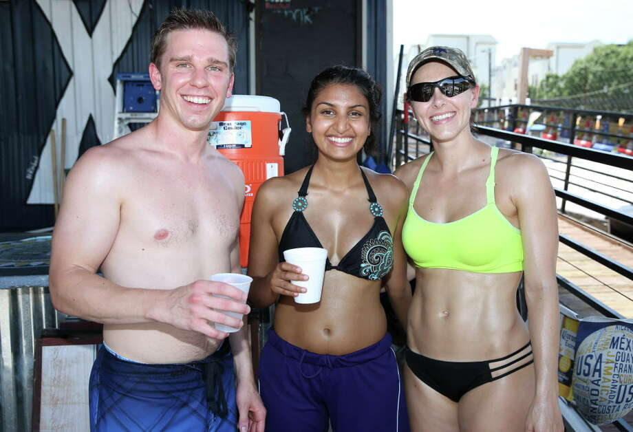 People pose for a photograph at Splash Game Saturday, July 29, 2017, in Houston. Photo: Yi-Chin Lee, Houston Chronicle / © 2017  Houston Chronicle