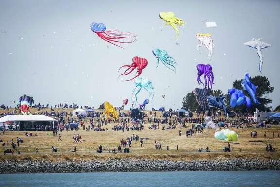People fly kites during the Berkeley Kite Festival at the Berkeley Marina.