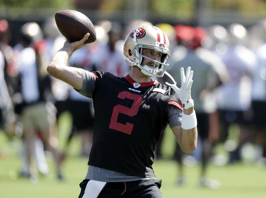 San Francisco 49ers quarterback Brian Hoyer (2) throws during the NFL team's football training camp Friday, July 28, 2017, in Santa Clara, Calif. (AP Photo/Marcio Jose Sanchez) Photo: Marcio Jose Sanchez, Associated Press