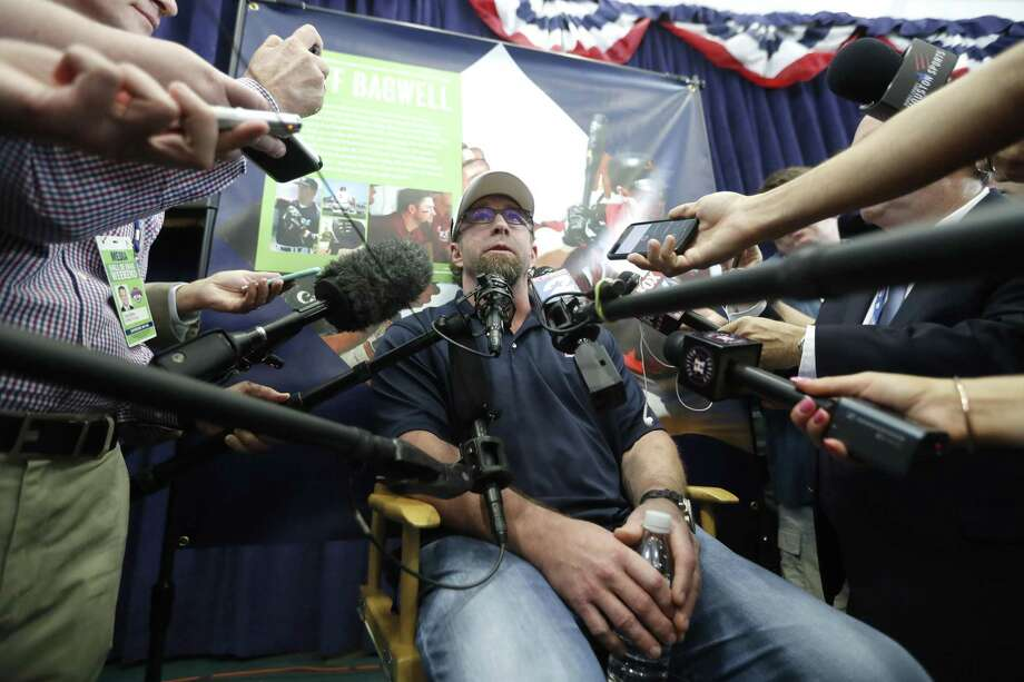Jeff Bagwell talks to the media during his press conference in the Clark Sports Center, on Saturday in Cooperstown, N.Y. ahead of his induction into the National Baseball Hall of Fame, Sunday. Photo: Karen Warren / Houston Chronicle / @ 2017 Houston Chronicle