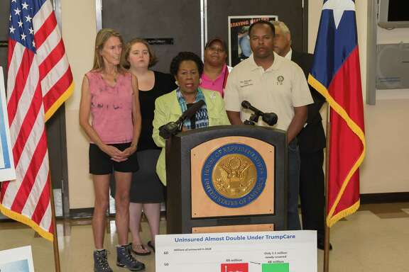 Rep. Sheila Jackson Lee speaks about health care issues Saturday at the Riverside Dialysis Center in Houston.