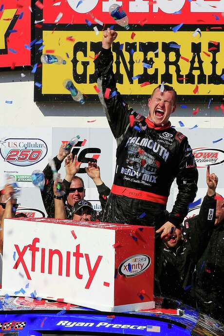 Ryan Preece likely could not be happier after winning the Camping World Truck race at Newton, Iowa., on Saturday - his first career pro win. Photo: Daniel Shirey, Stringer / 2017 Getty Images
