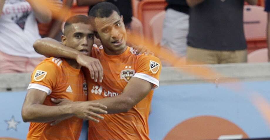 Mauro Manotas (left) has scored four goals in two starts against Portland. He'll be a key player along with Juan David Cabezas in the Dynamo's playoff game against the Timbers on Monday night. Photo: Thomas B. Shea/For The Chronicle