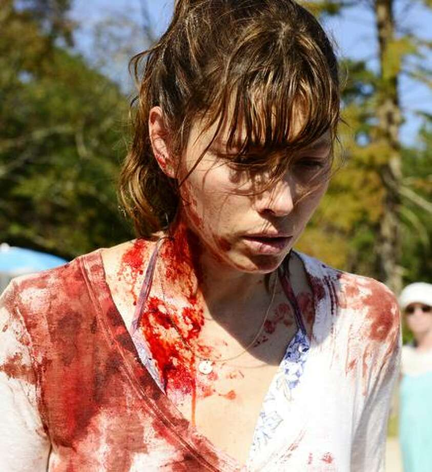 Jessica Biel is Cora, who turns violent while at the beach with her family. Photo: USA Network / Brownie Harris / USA Network / 2016 USA Network Media, LLC