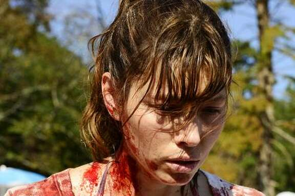 Jessica Biel is Cora, who turns violent while at the beach with her family.