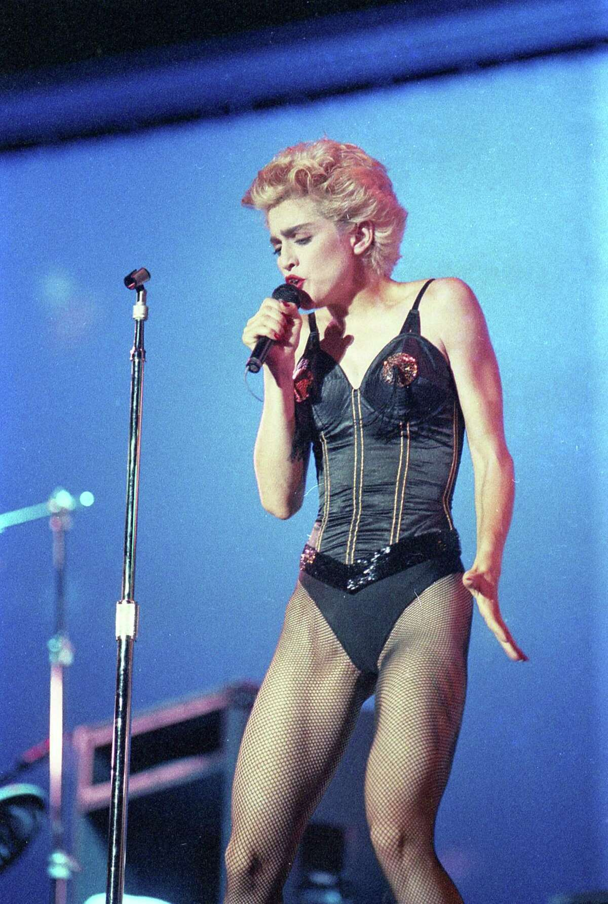 """Madonna onstage at the Astrodome during the """"Who's That Girl Tour,"""" July 24, 1987."""