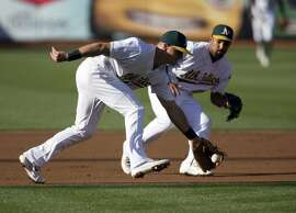 Oakland Athletics' Matt Chapman (26) cuts in front of Marcus Semien to field a grounder by Minnesota Twins' Miguel Sano during the first inning of baseball game Saturday, July 29, 2017, in Oakland, Calif. Sano was out at first.(AP Photo/D. Ross Cameron)