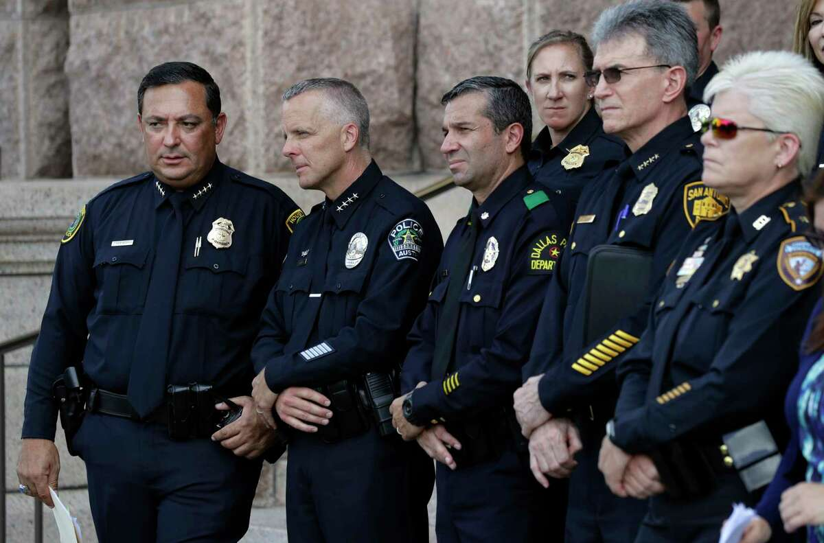 Houston Police Chief Art Acevedo, from left, Austin Police Chief Brian Manley, Dallas Police Maj. Rueben Ramirez and San Antonio Police Chief William McManus last week took part in a public safety event where they spoke against the proposed bathroom bill in Austin. (AP Photo/Eric Gay)