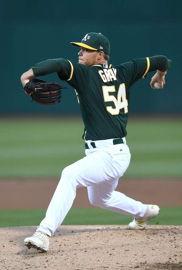 OAKLAND, CA - JULY 14:  Sonny Gray #54 of the Oakland Athletics pitches against the Cleveland Indians in the top of the first inning at Oakland Alameda Coliseum on July 14, 2017 in Oakland, California.  (Photo by Thearon W. Henderson/Getty Images) Photo: Thearon W. Henderson, Getty Images