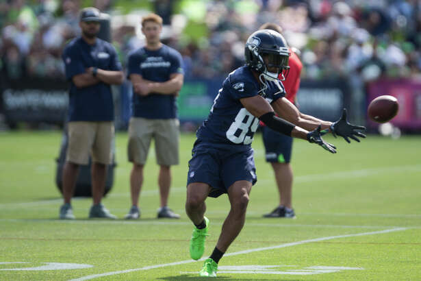Seahawks wide receiver Doug Baldwin makes a catch during the first day of practice on Sunday, July 30, 2017.