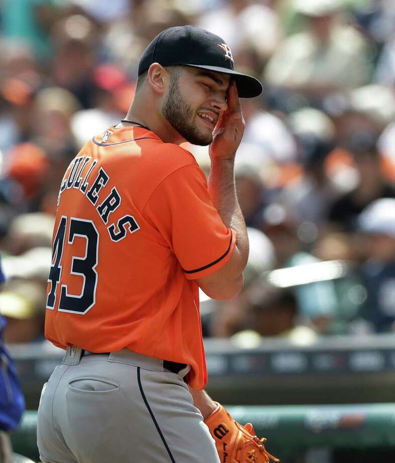 Houston Astros starting pitcher Lance McCullers Jr. wipes his face after being relieved during the sixth inning of a baseball game against the Detroit Tigers, Sunday, July 30, 2017, in Detroit. (AP Photo/Carlos Osorio) Photo: Carlos Osorio, Associated Press / Copyright 2017 The Associated Press. All rights reserved.