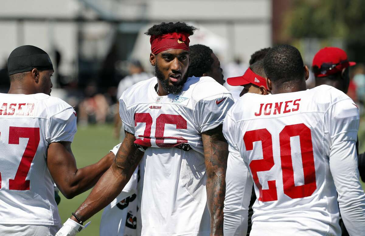 Dontae Johnson (36) chats wtih Don Jones (20) during practice at Levi's Stadium in Santa Clara, Calif., on Sunday, July 30, 2017.