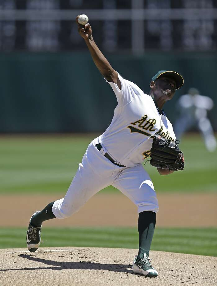 Oakland Athletics pitcher Jharel Cotton works against the Minnesota Twins in the first inning of a baseball game Sunday, July 30, 2017, in Oakland, Calif. (AP Photo/Ben Margot) Photo: Ben Margot, Associated Press