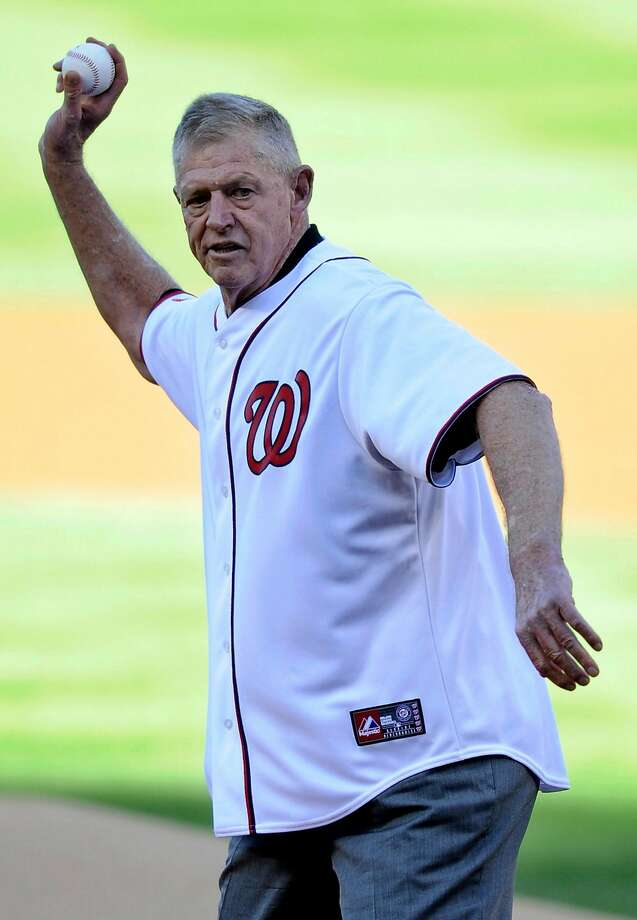 Frank Howard, a former member of the Washington Senators, throws out the ceremonial first pitch before Game 4 of the National League division baseball series between the Washington Nationals and the St. Louis Cardinals on Thursday, Oct. 11, 2012, in Washington. (AP Photo/Nick Wass) Photo: Nick Wass, Associated Press
