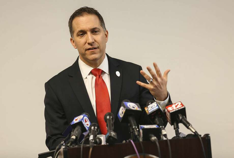 "FILE - In this April 27, 2016 file photo, Palm Beach County State Attorney Dave Aronberg talks during a press conference in West Palm Beach, Fla.. Aronberg's wife, Lynn, said on Thursday, July 27, 2017, that she wants a divorce from her husband in part because he is not a ""staunch Republican and supporter of President Trump"" like she is. (Bill Ingram/Palm Beach Post via AP, File)  /Palm Beach Post via AP) Photo: Bill Ingram/AP"