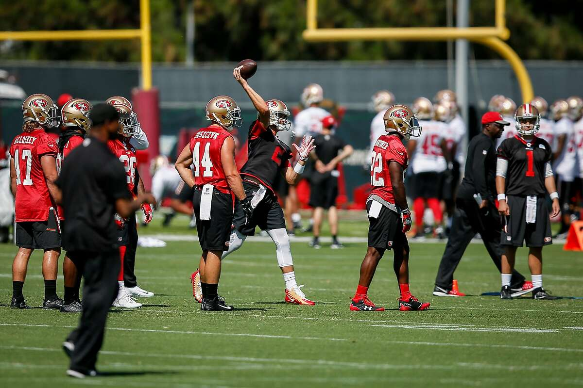 4San Francisco 49ers quarterback Brian Hoyer (2), middle, runs a drill during practice on the practice field at Levis Stadium in Santa Clara on Saturday, July 29, 2017.