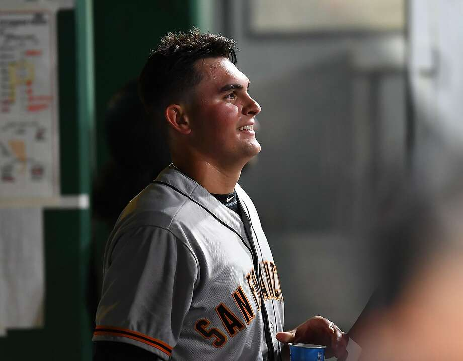 Ryder Jones said a minor swing adjustment, resting the bat on his shoulder and spreading his legs more to quiet his shoulders, led to his hitting surge in Sacramento. Photo: Joe Sargent, Getty Images