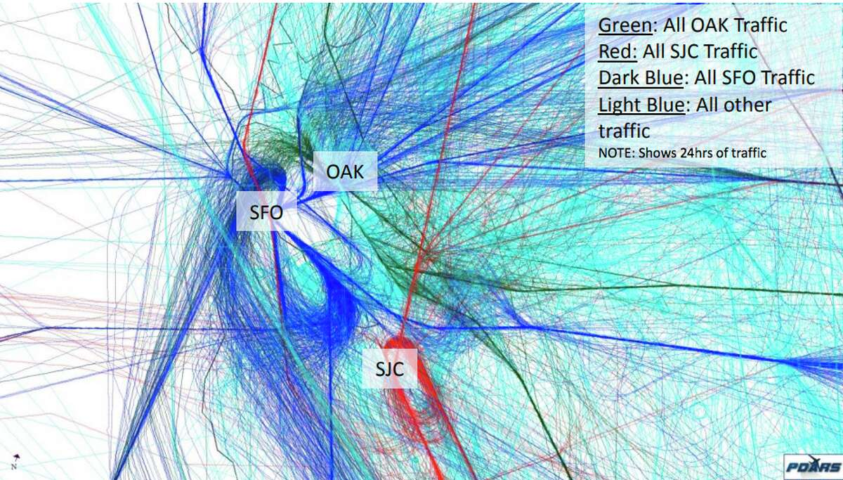 This map created by the FAA shows traffic from all three major Bay Area airports in a 24-hour period.