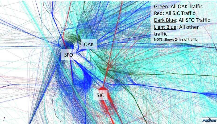 This map created by the FAA shows traffic from all three major Bay Area airports in a 24-hour period. Photo: Federal Aviation Administration