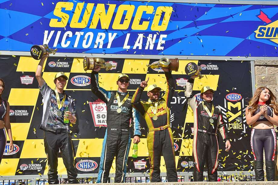 From left, LE Tonglet (Pro Stock Motorcycle), Tanner Gray (Pro Stock), J.R. Todd (Funny Car) and Steve Torrence (Top Fuel) celebrate in victory lane at the NHRA Sonoma Nationals at Sonoma Raceway. Photo: Photo By Nate Jacobson