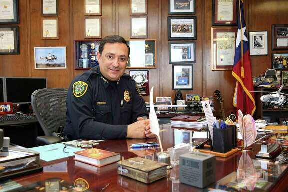 Houston Police Chief Art Acevedo poses for a portrait at his desk, which he doesn't usually work from, at the HPD headquarters Tuesday, May 23, 2017, in Houston. ( Yi-Chin Lee / Houston Chronicle )