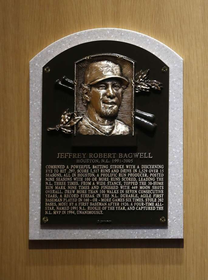 Jeff Bagwell's plaque is installed at the National Baseball Hall of Fame, Sunday, July 30, 2017, in Cooperstown. ( Karen Warren / Houston Chronicle ) Photo: Karen Warren/Houston Chronicle
