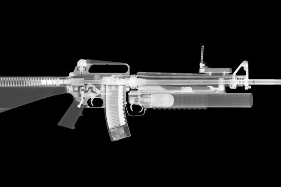 X-ray image of a M16 rifle with M203 grenade launcher