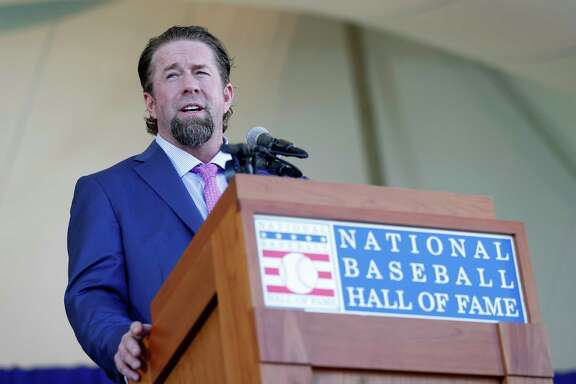 Jeff Bagwell gives his speech after getting inducted during the National Baseball Hall of Fame Induction ceremonies, Sunday, July 30, 2017, in Cooperstown. ( Karen Warren / Houston Chronicle )