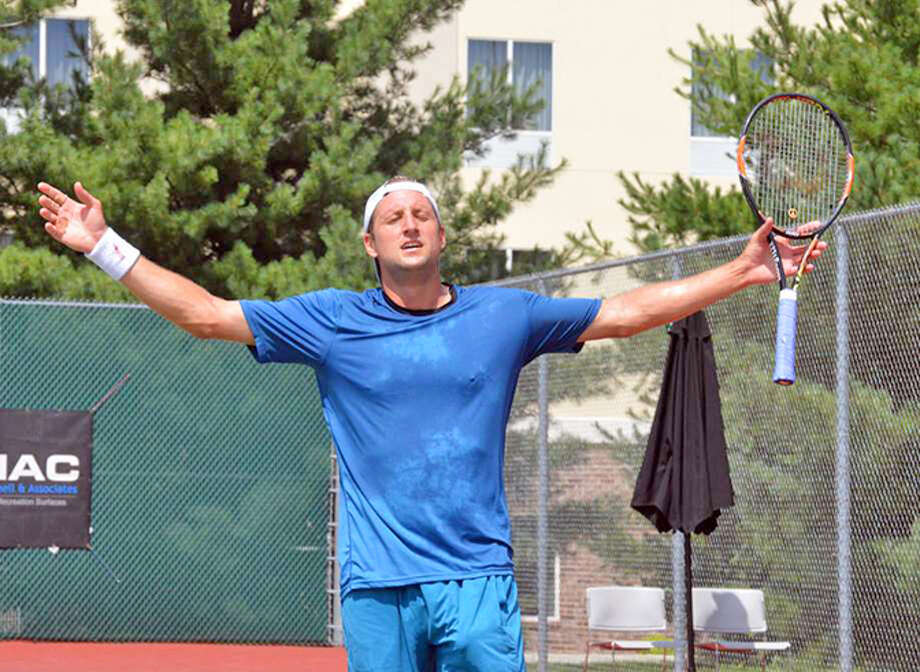 Tennys Sandgren celebrates his victory in the singles final during last year's Edwardsville Futures tournament at the Edwardsville High School Tennis Center.