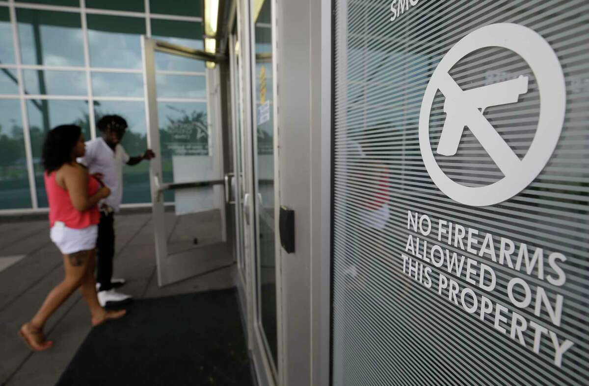 A no firearms allowed sign is displayed outside the student service center building at Lone Star College-CyFair, 9191 Barker Cypress Rd., Tuesday, July 25, 2017, in Cypress. Campus carry for community colleges will become effective on Aug. 1.