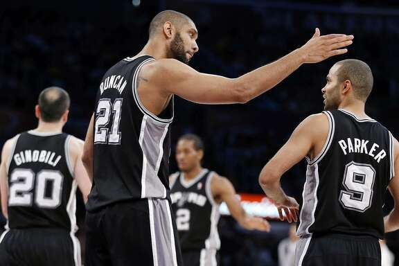 Manu Ginobili (from left), Tim Duncan, Kawhi Leonard and Tony Parker have been the keys to the Spurs winning at 60-percent clip over the past 20 seasons.