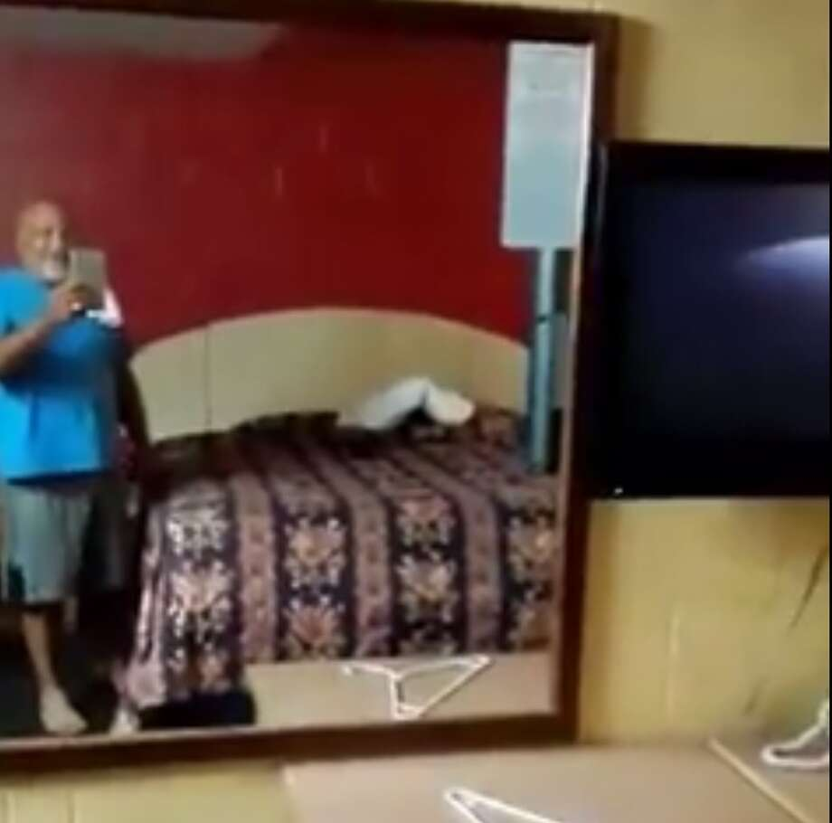 Potus Frank Ramirez posted a video on Facebook about a hotel room he believed to be haunted in South Texas. In the video, the ghost unsaddles the corded phone, moves a towel and knocks off a hanger from a dresser.Image source: FacebookKeep clicking to see more photos from the motel room and some of the most haunted places you can visit in Texas. Photo: Potus Frank Ramirez Via Facebook