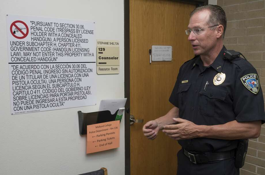 Midland College Chief of Police Richard McKee talks about where the new signs are visible around Midland College campuses 7/31/17, designating areas where conceal carry of firearms are prohibited.  Tim Fischer/Reporter-Telegram Photo: Tim Fischer/Midland Reporter-Telegram