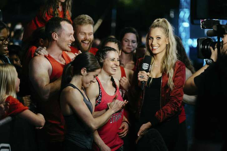 """San Antonio favorite Kacy Catanzaro and Houston-area dynamo Barclay Stockett were quizzed by """"American Ninja Warrior"""" correspondent Kristine Leahy at the S.A. finals. They were the only two women to advance to the national finals in Vegas, which will be broadcast in coming weeks on NBC."""