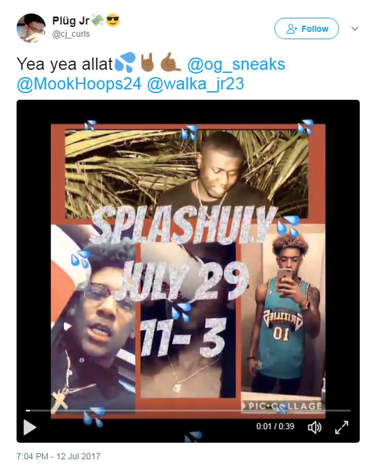 """Authorities said a large party with about 100 attendees was taking place at the house, which had been rented for the weekend. Social media posts indicate the """"Splashuly"""" party was hosted by Jiggity Jay Entertainment. The party appears to have originally been scheduled for July 29, but the date was later amended to July 30. Photo: Twitter"""