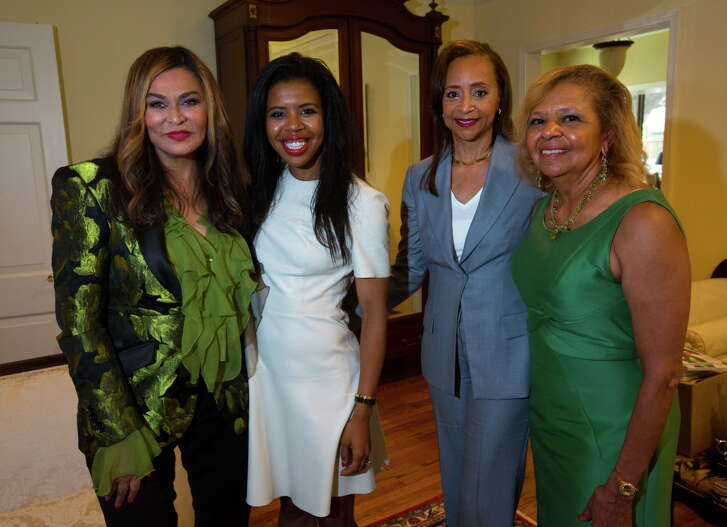 "Tina Knowles, Claire Cormier Thielke, Cheryl Creuzot and Yvonne Cormier during a book-signing of Creuzot's new book ""Real Lives, Real Money"" on Saturday, July 29, 2017, in River Oaks."