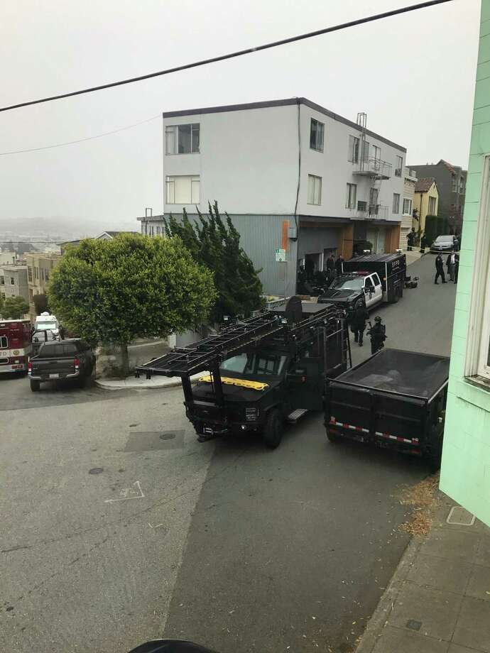 Police negotiated with a barricaded suspect near Corona Heights Park on Monday. Photo: San Francisco Chronicle