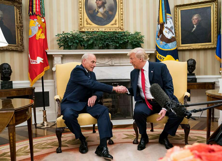 President Donald Trump with John Kelly, his new Chief of Staff, in the Oval office of the White House, in Washington, July 31, 2017. (Doug Mills/The New York Times) Photo: DOUG MILLS, NYT