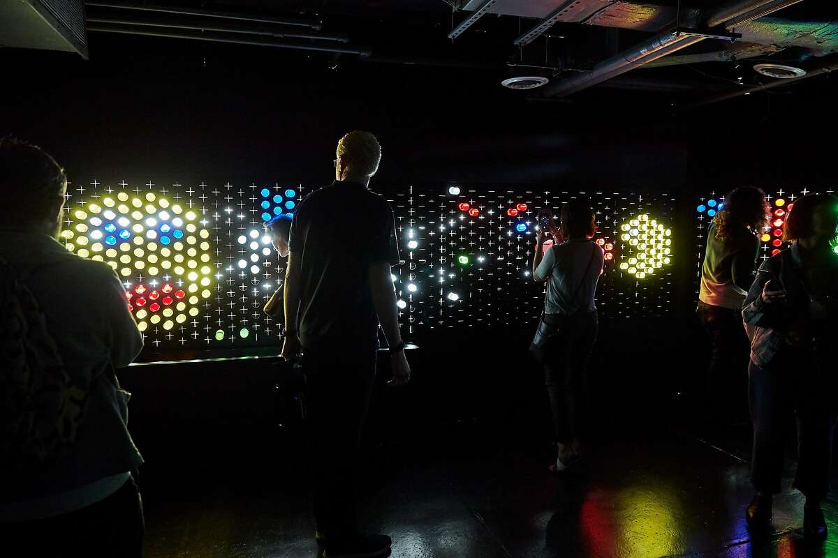 The Color Factory had its grand opening party July 28, drawing a cross-section of society types, art and color lover. Pictured here is the giant Lite-Brite.