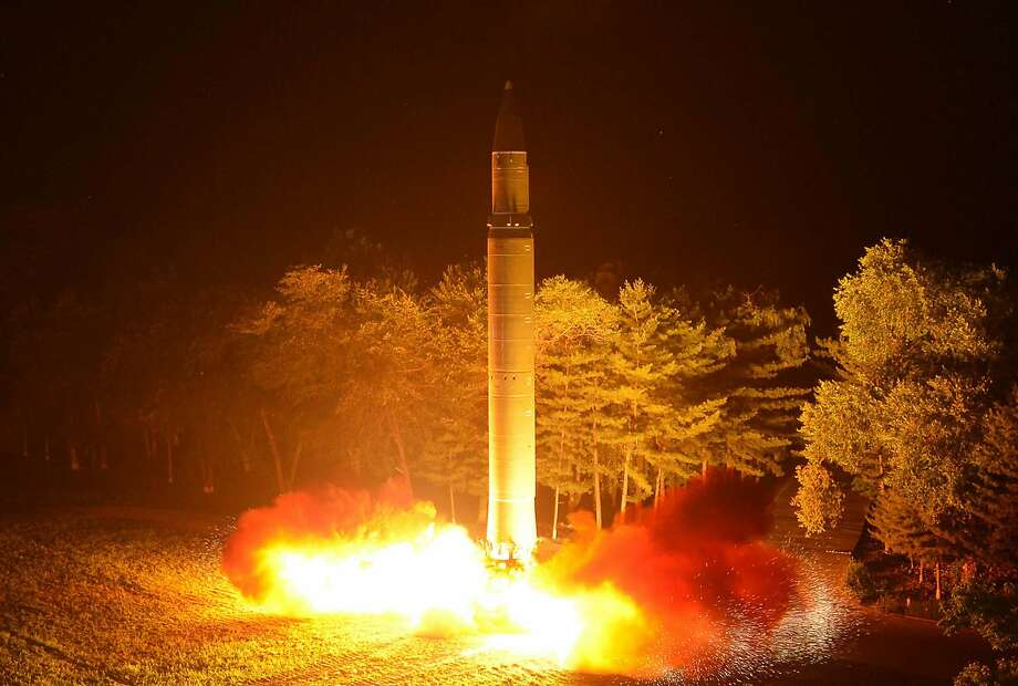 A photo distributed by the North Korean government on Saturday, July 29, 2017, shows what was said to be the launch of a Hwasong-14 intercontinental ballistic missile at an undisclosed location in North Korea. North Korean leader Kim Jong Un said Saturday the second flight test of an intercontinental ballistic missile demonstrated his country can hit the U.S. mainland, hours after the launch left analysts concluding that a wide swath of the United States, including Los Angeles and Chicago, is now in range of North Korean weapons. Independent journalists were not given access to cover the event. Photo: Associated Press