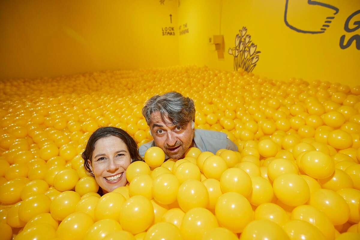 Dana Blecher (left) and Hooman at the opening of The Color Factory at 575 Sutter Street in San Francisco July 28, 2017.