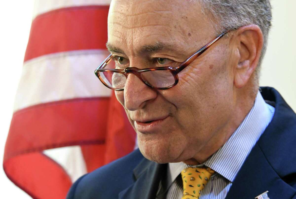U.S. Senator Charles Schumer talks about tick-born illnesses at Albany Medical Center on Monday, July 31, 2017 in Albany, N.Y. (Lori Van Buren / Times Union)