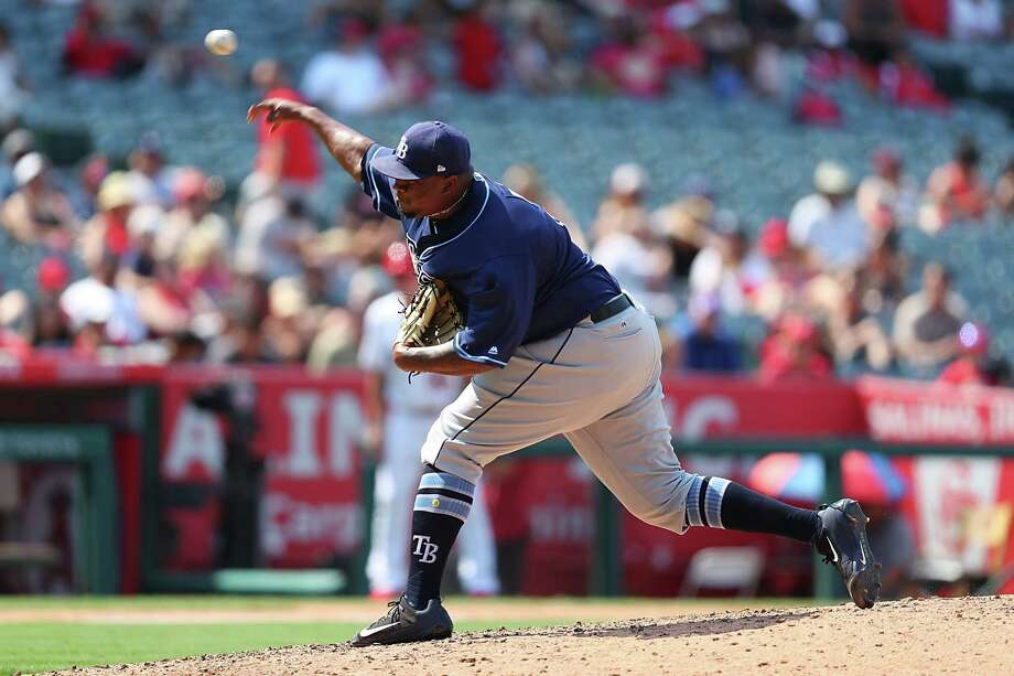 ANAHEIM, CA - JULY 16:  Jumbo Diaz #17 of the Tampa Bay Rays pitches in the eighth inning Los Angeles Angels at Angel Stadium of Anaheim on July 16, 2017 in Anaheim, California. Photo: Joe Scarnici, Getty Images / 2017 Getty Images